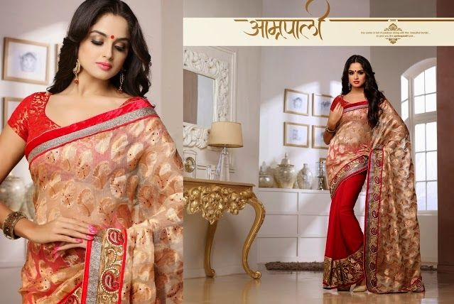 Superb Designer Party wear Golden Red Chiffon Saree with Netted Jacquard Pallu and Contrast matching Brocade Blouse. Heavy work en-crafted all over.