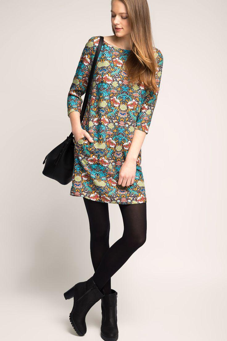 Esprit - Gewebtes Kleid mit Retro-Print im Online Shop ...