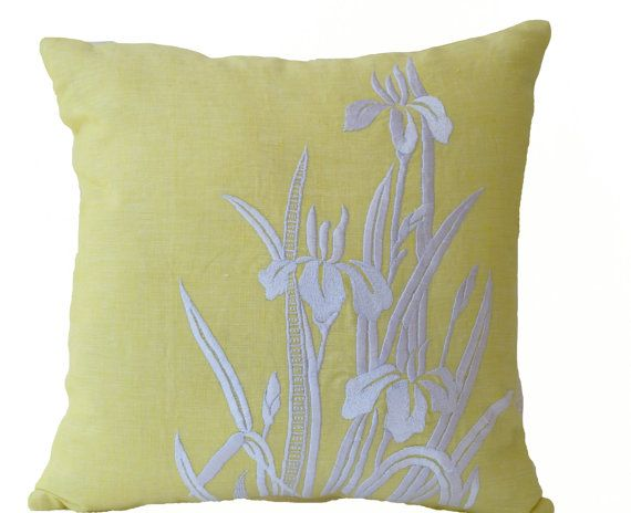 Flower Pillow Yellow Pillow Cover Iris Flowers by AmoreBeaute