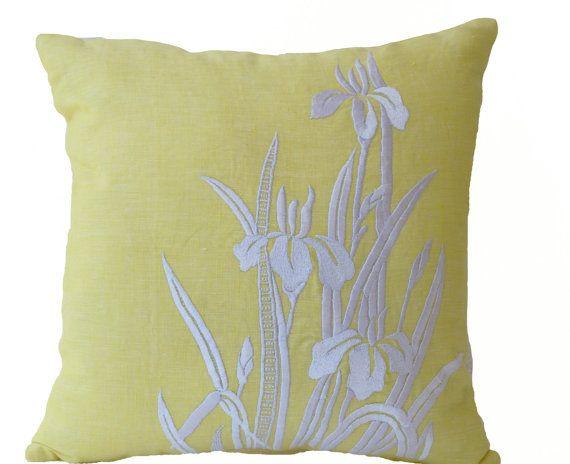 Flower Pillow- Yellow Pillow Cover -Iris Flowers Embroidered Pillow- Linen Pillow Covers- Modern Throw pillows- 16x16- Yellow White Pillows