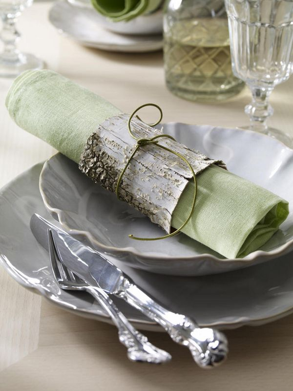 Table decoration: I like the idea if birch bark...wrapped around a vase?