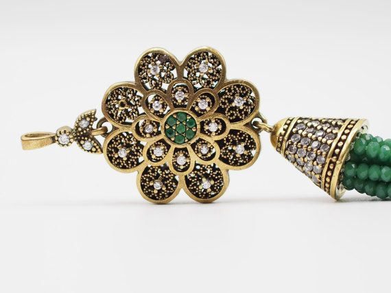 Tassel Pendant with Green Crystal Stone Jewelled Turkish