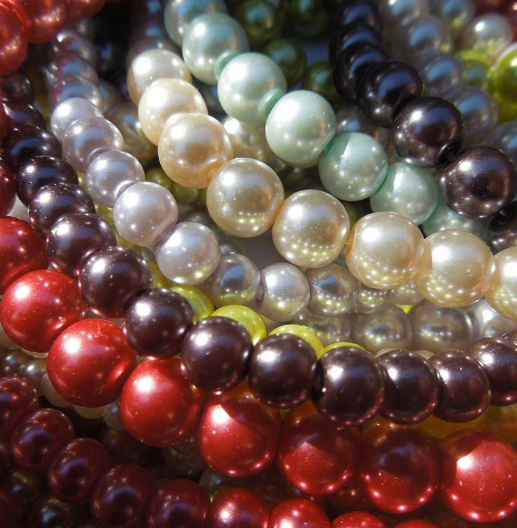 Round Glass Pearl Beads for Jewellery Making x 50