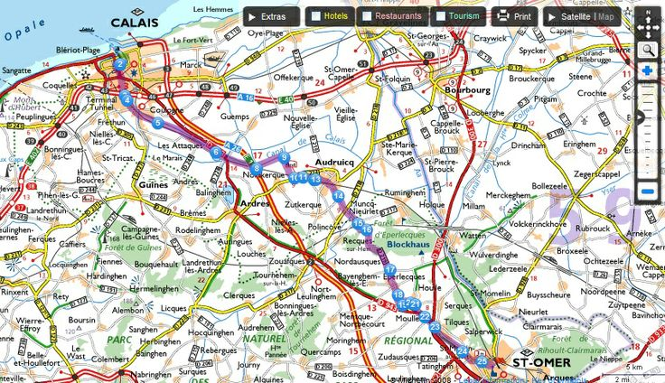 Driving route planner shows all stops, attractions, restaurants, and hotels along your route