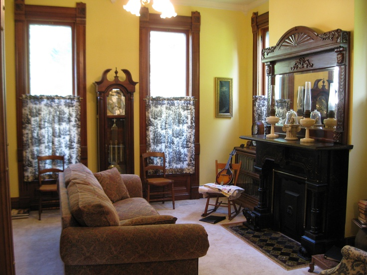 The Living Room Colors Came From Yellow And Black Victorian Fireplace Tiles