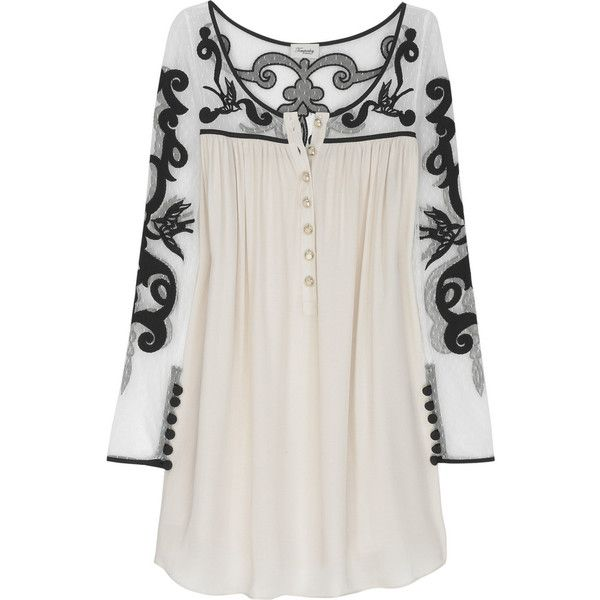 Tattoo lace silk-blend tunic I want this blouse!!! Thank goodness its sold out!!! ($350) found on Polyvore.