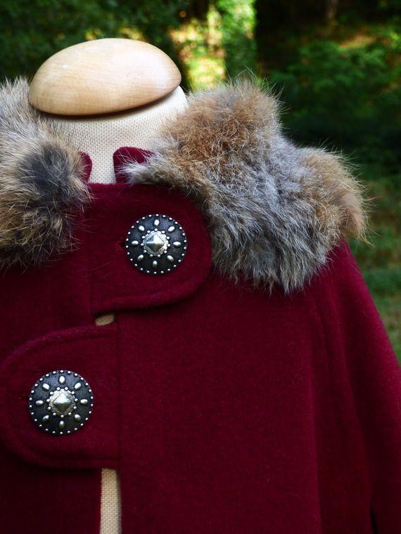 Cape médiévale d'hiver pour enfant - Modèle Deluxe - matériaux grande qualité