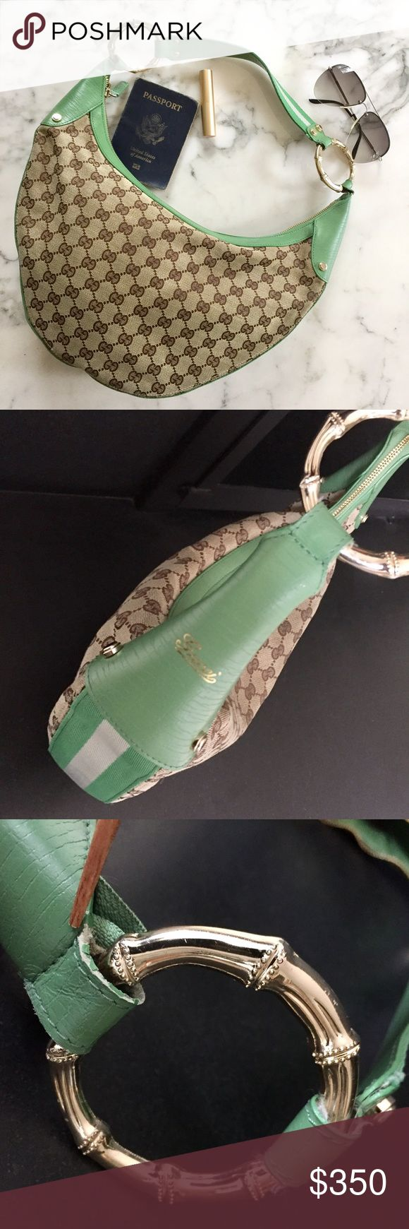 "Gucci hobo bag Vintage Gucci half moon hobo with green leather & sporty canvas stripe trim, pretty bamboo handle hardware, and signature GG hallmark design on exterior. Handle is leather on bottom, canvas on top. 1 interior zip pocket. Slight signs of wear on loop where hardware connects to purse (3rd pic), otherwise great condition. Not sure of age, but it's several years old, as it belonged to my mother. Serial code 131036 9791. 11"" handle drop, 16""x9""x5"". No trades, and no emails; selling…"