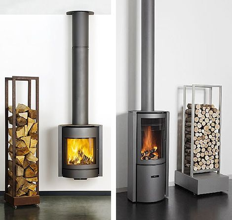 Contemporary Wood Burning Stoves by Stuv - 3-position turning door rocks!