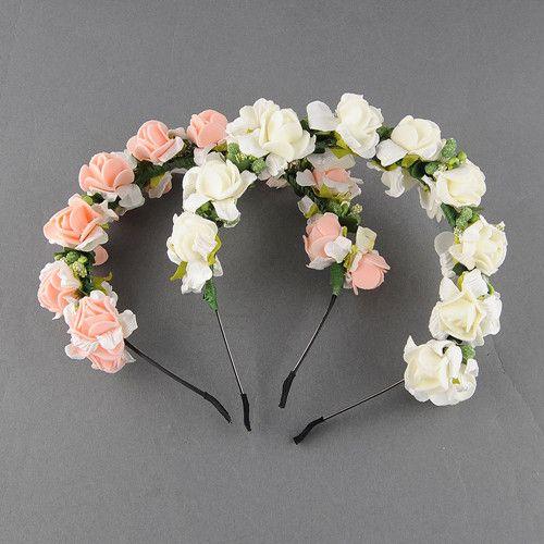 Flower Garland Floral Bridal Headband Hairband Wedding Prom Festival Pink/White