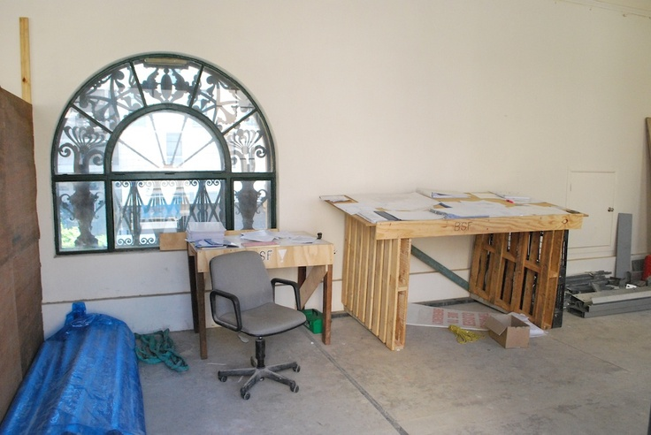 Makeshift office space (for the construction crew, not the Museum staff!)  http://www.museumofbrisbane.com.au/ (Photo courtesy of Brisbane City Council)