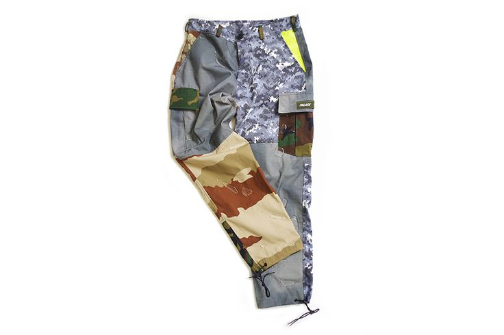 Palace Skateboards links with military-spec clothing manufacturer ArkAir for a capsule collection of patchwork camouflage pieces for Dover Street Market.