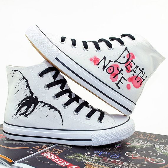 Anime Death Note Custom Hand Printed Hi Tops Canvas Shoes Unisex Sneakers Custom Shoes Best Gift for Men Women US Free Shipping