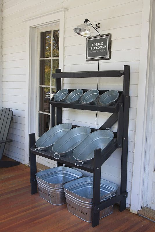 Great idea for buckets and tubs from http://bucket-outlet.com - good idea or garage to store like shoes and other misc items