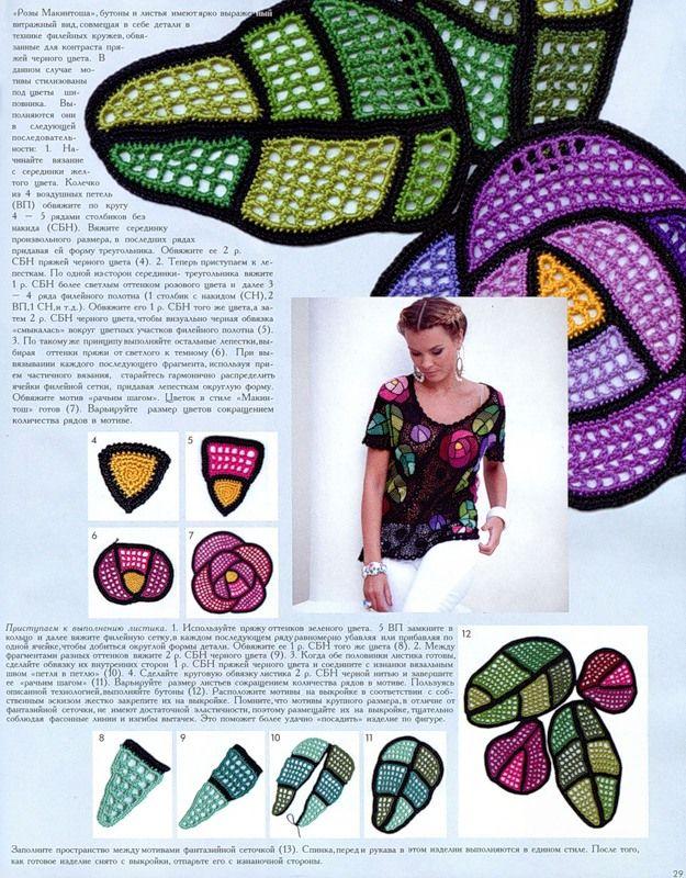 Beautiful roses (meu mundo do croche: revista russa moa 548)