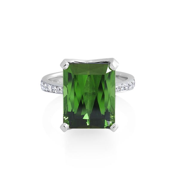 Show-stopping emerald cut green Tourmaline ring by ROX