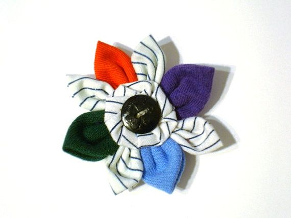 Handmade GIRL GUIDE Flower with Centre Girl Guide Button and Vintage GGC Striped Uniform Fabric