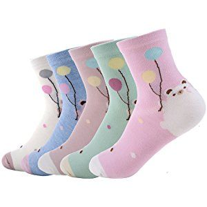 Yantu Damensocken Baumwolle frei komfortable Sportsocken Animal Cartoon Streifen Socken Prints Socks, 5 Paare Mehrfarbig