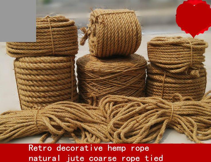 Fina cuerda de cáñamo tejido a mano diy retro decorativo natural jute twine cuerda atada áspera envío libre al por mayor
