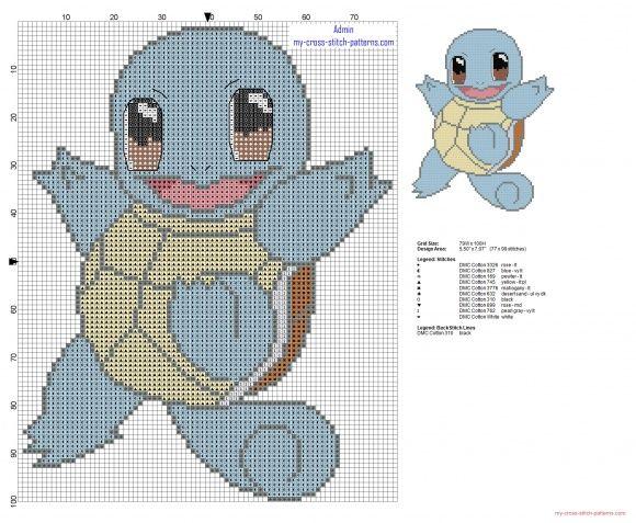 Squirtle Pokémon 007 primera generación patron punto de cruz (click to view)