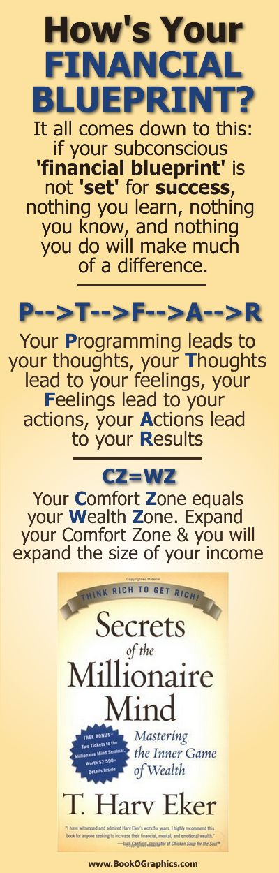 """How's your financial blueprint? - a BookOGraphic based on the book """"Secrets of the Millionaire Mind"""" by T. Harv Eker"""