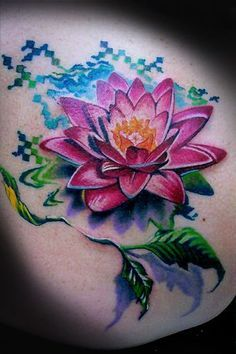 Dark pink lotus tattoo