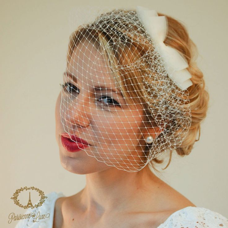 """Birdcage Veil with Bow, Russian Netting, Blusher Veil, Bridal Birdcage Veil, Wedding Head Piece, Ivory, White, Champagne, Black """"Cosette"""""""" by ParisienneLuxe on Etsy https://www.etsy.com/listing/202332947/birdcage-veil-with-bow-russian-netting"""