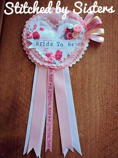 Handmade hen party Bride to be rosette Badge by StitchedbySistersuk on Etsy