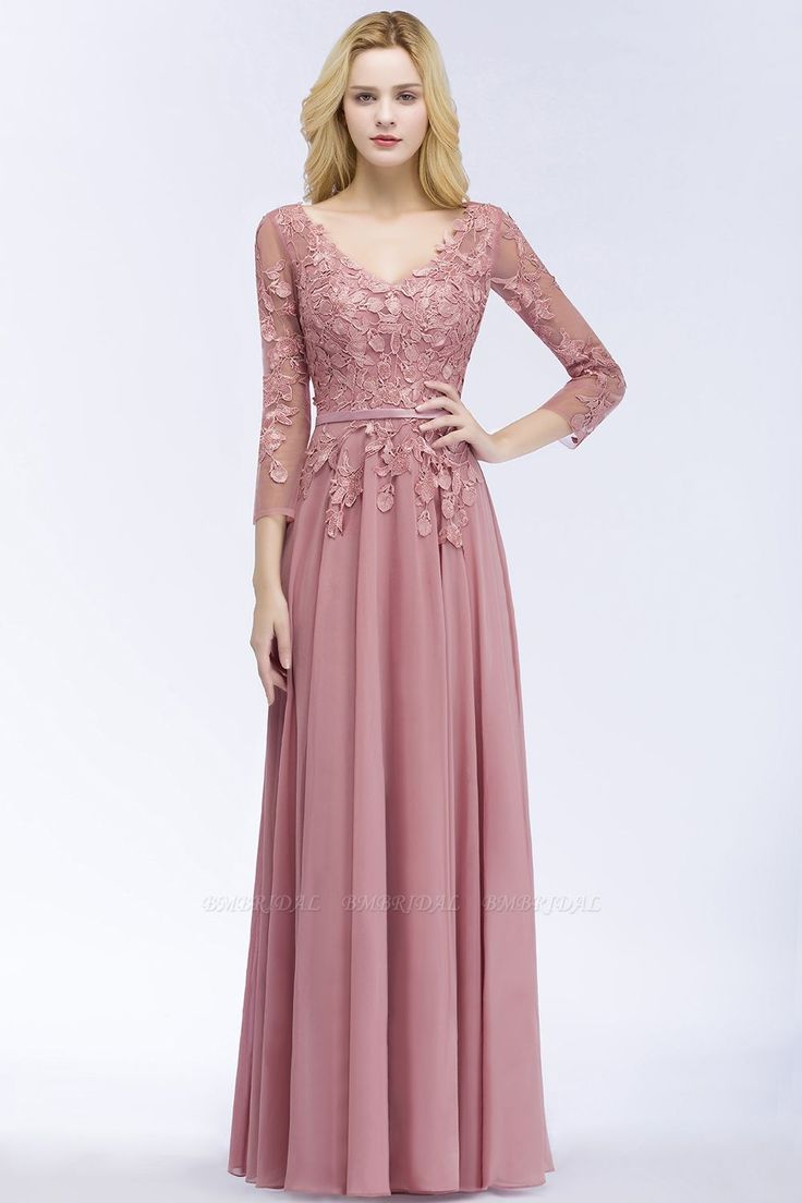 Cheap vneck appliques dusty rose bridesmaid dresses with