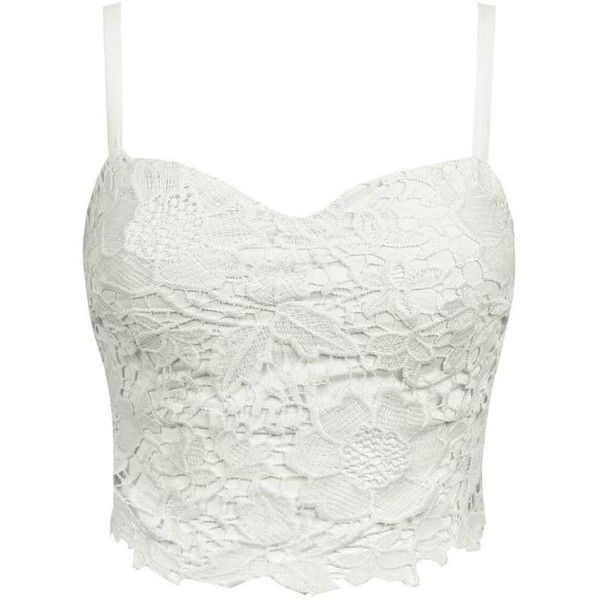 Lace Bralet Crop Top, White ($28) ❤ liked on Polyvore
