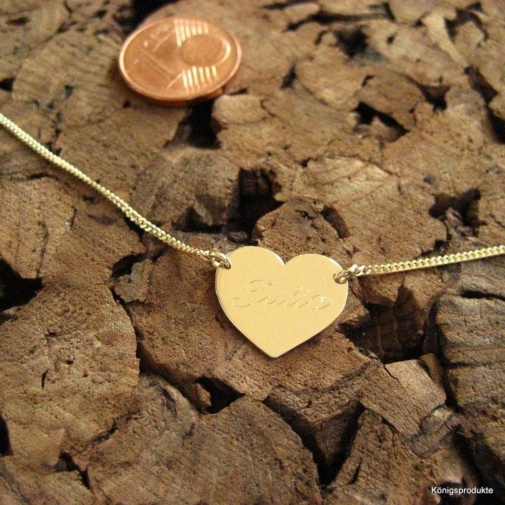1,4 cm Herz Gravurplattenkette in 333er Gelbgold mit Gravur, Namenskette, GK-60