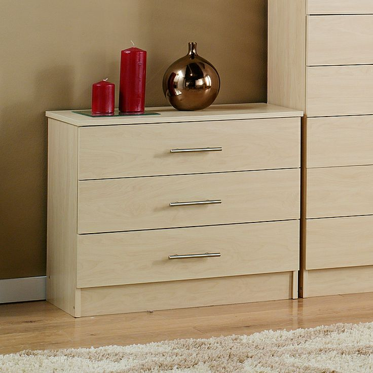 H58.5 x W70 x D33cm.  Dallas Wide Chest of 3 Drawers - Birch Effect | Chests of Drawers | ASDA direct