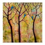 Bluebirds in Trees Shower Curtain for wall art project