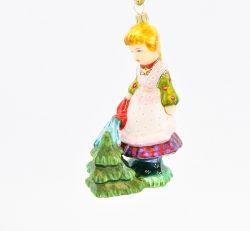 Dziewczynka podlewająca choinkę - Polskie bombki ręcznie malowane - sklep z ozdobami choinkowymi Komozja Family