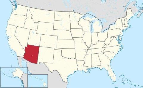 """Arizona: Ubicación en el mapa. Otros nombres:El estado del Gran Cañón. Lema:""""Ditat Deus"""" (enlatín: «Dios enriquece»)"""