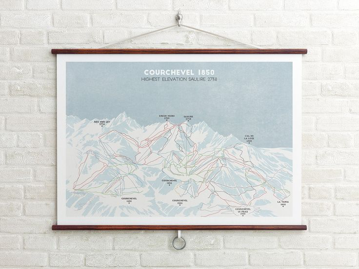 Ski piste map print of Courchevel resort in France, part of the 3 Vallees ski region.  The Ski map is an integral part of any skiing/snowboarding trip, for the first few days or perhaps the whole holiday the map is kept at your side as you discover your favourite and most memorable runs. As nice as the ski piste maps are by the time we are done with them they are crumpled, creased and perhaps a bit soggy. At Cabin Co we thought how awesome it would be if this once cherished item could be...