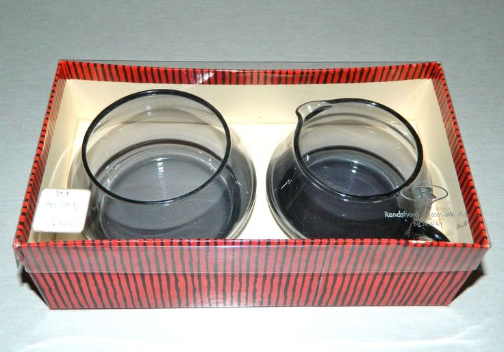 Vintage Randsfjord Norway Glass Creamer Sugar Bowl Set Smoke Retro 70s Boxed | eBay