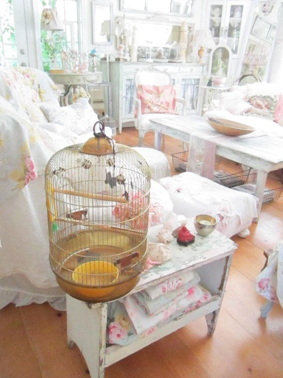Vintage bird cage  made in Italy shabby by Vintagewhitecottage, $39.00