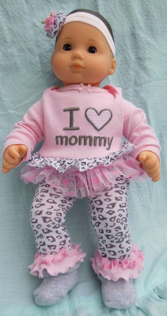 BITTY BABY GIRL Mommy's Valentine pink gray by TheDollyDama, $16.00