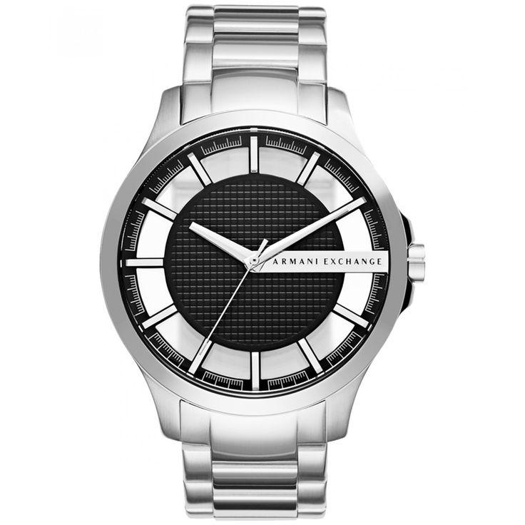 Reloj Armani Exchange con caja y bisel de acero inoxidable con acabado cepillado extensible de brazalete de tres líneas carátula texturizada en tono negro con detalle de la marca a contraste.