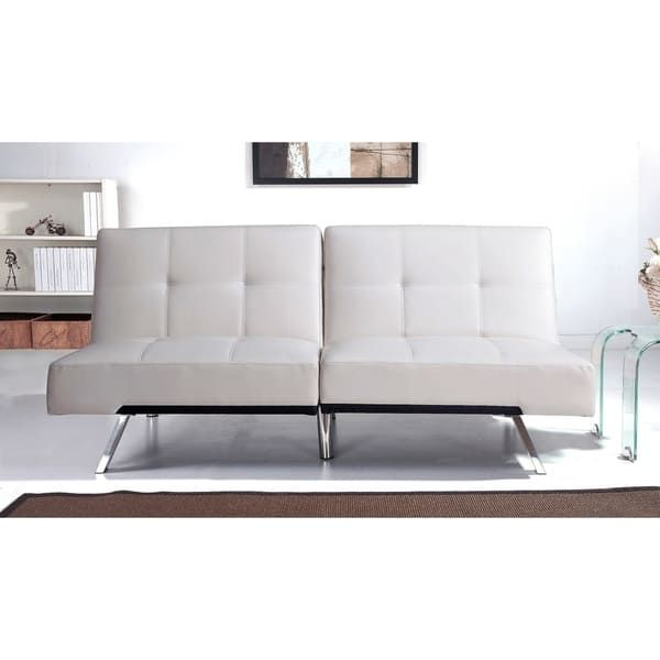 abbyson aspen ivory bonded leather foldable futon sleeper sofa