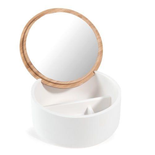 Cofanetto portagioie con specchio in bambù bianco MALMO