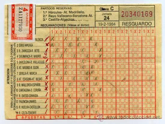#Quiniela de fútbol española del año 1984. Como hemos cambiado, ahora no hacen falta sellos ni firmas. ¿Juegas con nosotros?