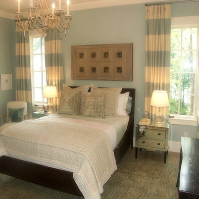 Nice colors for bedroom: baby blue, white & grey. It almost looks like scrabble tiles on the wall.