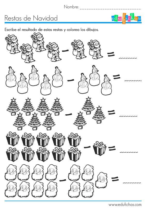 Restas de Navidad  http://www.edufichas.com/actividades/matematicas/sumas/restas-con-dibujos-de-navidad/  #restas #navidad #colorear #dibujos #christmas