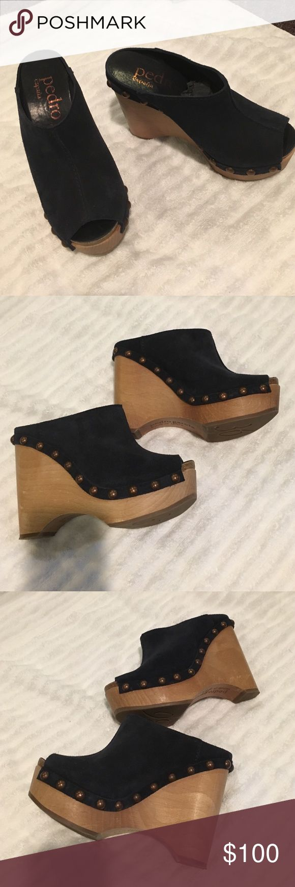 "PEDRO GARCIA NAVY SUEDE CLOGS Gorgeous wedge CLOGS made by Pedro Garcia. 4"" wedge. Open toe. Bronze hardware. Mint condition. Very comfortable. Slide your foot right into these awesome CLOGS pedro garcia Shoes Mules & Clogs"