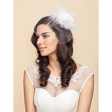 Tulle And Feathers Wedding/Party Blusher Veils With Flower(More Colors) – USD $ 10.79