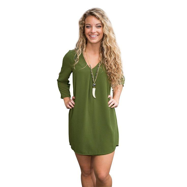 Goedkope 2015 de nieuwe herfst vrouwen jurk v hals solid sexy jurk lange mouwen na kraag kant casual groene jurk oversize S XL, koop Kwaliteit jurken rechtstreeks van Leveranciers van China: 2015 nieuwe mode herfst vrouwen jurk v- hals effen sexy jurk lange- sleeve na kraag kant toevallige groene jurk plus gro
