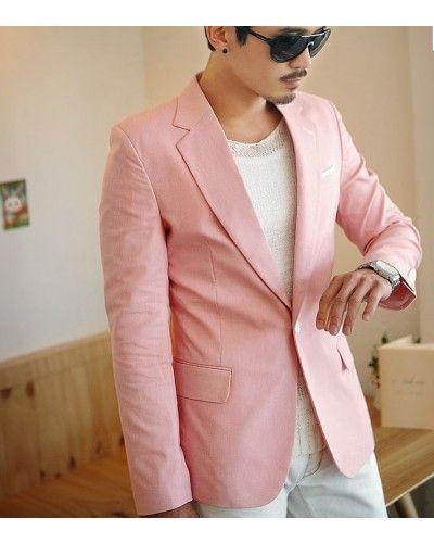 Blazer Pour Homme Veste De Costume Rose Pale Think Pink