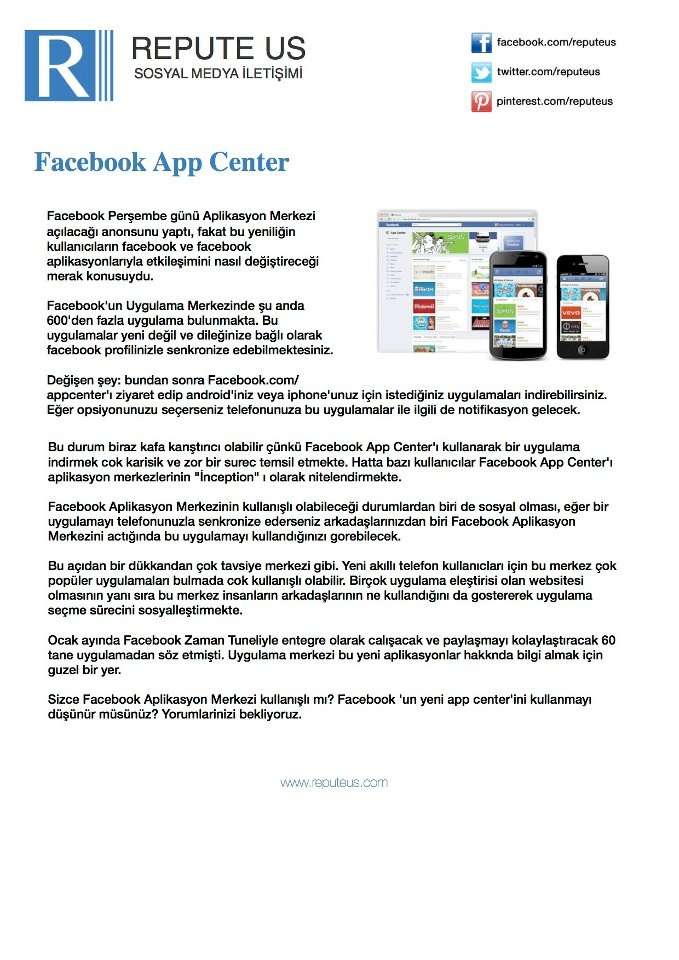 Facebook App Center Geliyor